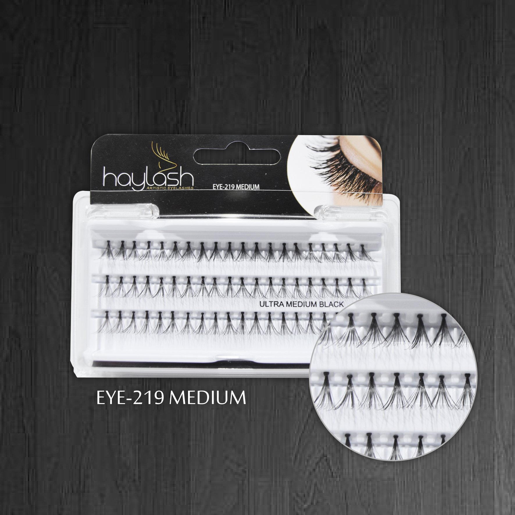 HAYLASH ULTRA EYELASH BLACK MEDIUM-60 POINTS