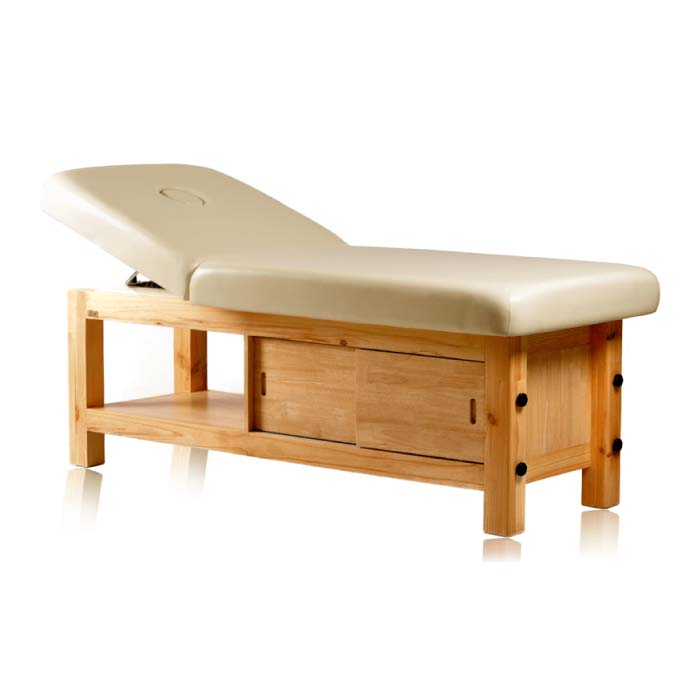 Kaya Massage Bed with Storage underneath, manual height adjustment